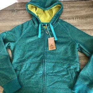 prAna Womens Akita Knit Fleece Hooded Zip Jacket